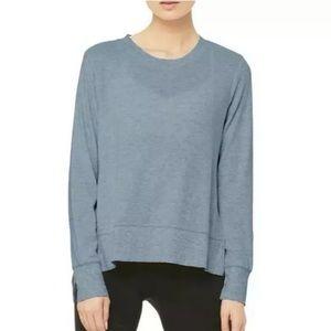 Alo YOGA Glimpse Sweater Crewneck Medium Concrete